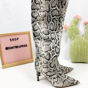 New Zara Snake Print Leather Boots (Sz: 39)